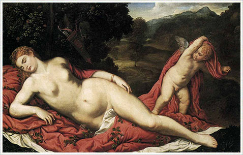 Спящая Венера и купидон