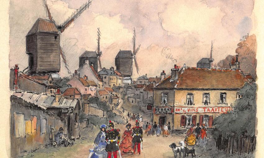 Ветряные мельницы Монмартра в Париже