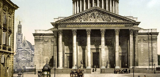 Пантеон - старая фотография с церковью Сент-Этьен-дю-Мон