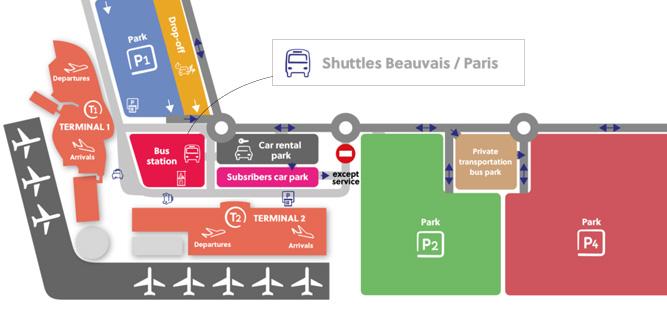 Стоянка автобусов в аэропорту Бове